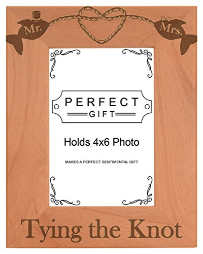 Gifts For All By Rachel Olevia Wedding Gift Tying The Knot Nautical Theme Natural Wood Engraved 4x6 Portrait Picture Frame Wood