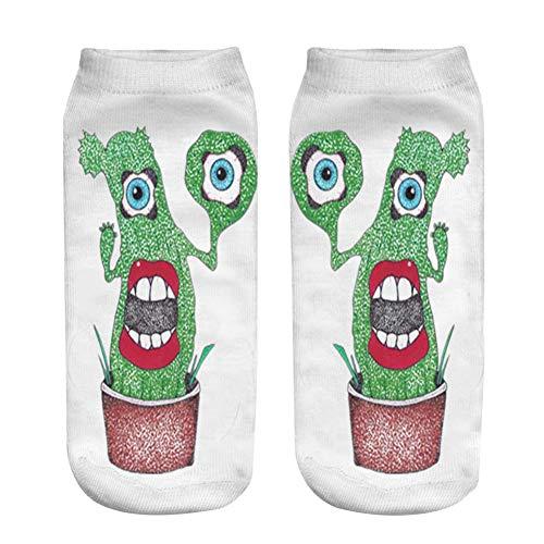 NANAYOUPIN 5 paar cartoon cactus patroon print vrouwen sokken 3D gedrukt design grappige sokken polyester mode 19 * 8 cm sokken