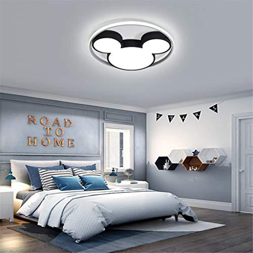 Lámpara De Techo Moderna De Dibujos Animados Lámpara De Vivero LED Creativa Lámpara Para Niños Diseño De Mickey Mouse Lámpara De Techo Para Dormitorios Dormitorio Regulable Con Control Remoto,45cm