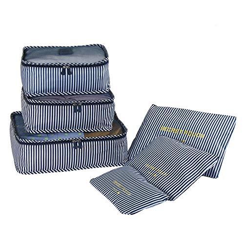 ROGF Borsa da Viaggio di stoccaggio 6PCS Stripes Waterproof Packaging Cubi Set per Bagaglio da Viaggio Organizer Bag Sacchetti di Compressione Suitcase per Viaggiare (Color : Blue, Size : Free Size)