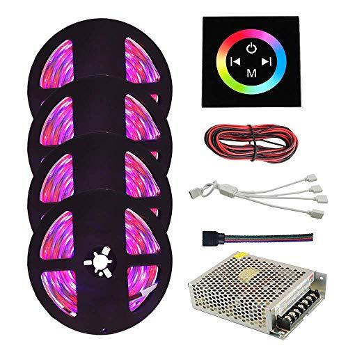 YAeele LED Strips, LED Strip Light Waterproof 300leds 3528 SMD 20M RGB Flexible LED Strip Kits Lights with Controller String Light