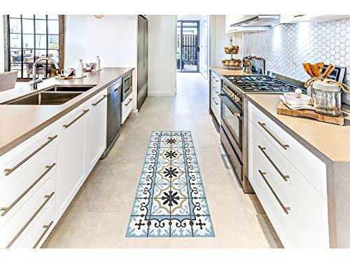Oedim Alfombra Mosaicos Color Azul Claro para Habitaciones PVC | 60 x 200 cm | Moqueta PVC | Suelo vinílico | Decoración del Hogar | Suelo Sintasol | Suelo de Protección |