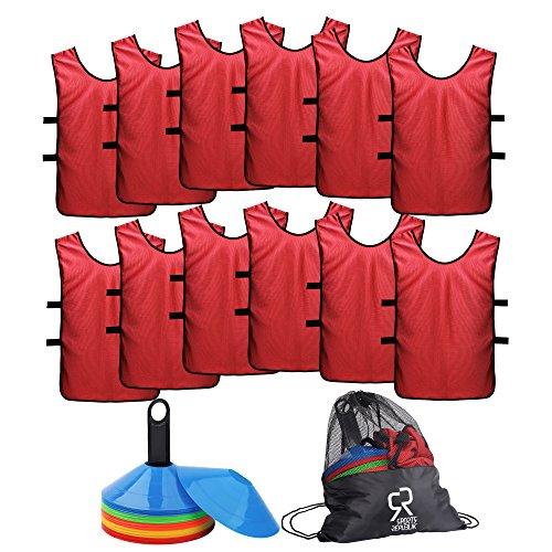 SportsRepublik Pinnies (12Unidades) y Conos de Disco (50-Pack) Ahorrar Tiempo y Dinero con Scrimmage Camisetas y Conos Cono de Incluye Bolsa de Transporte Organizador y Bono