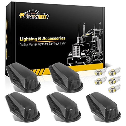 Partsam 5X Cab Marker Light Roof Running Light Black Cover Lens + 5050 White T10 194 168 LEDs Light Bulbs Compatible with Ford F150 F250 F350 1973-1997 F Series Super Duty Pickup Trucks