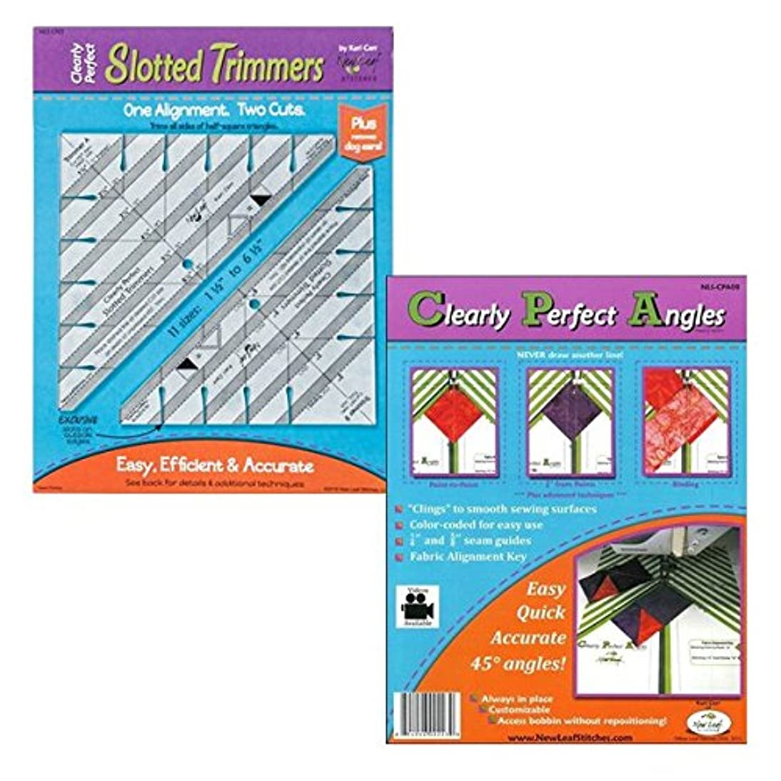 New Leaf Stitches NLSCPST Clearly Perfect Slotted Trimmers Bundled with NLSCPA08 Clearly Perfect Angle Sewing Templates