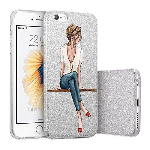 Teryei Compatible con Funda iPhone 6 / 6S, Hard Case [Ultra Slim] Full protección Anti-Golpes Rasguño y Resistente Anti-Estático Choque Absorción Bumper pour iPhone 6 / 6S - Polvo de flash (Chica)