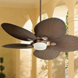 52' Casa Breeze Tropical Coastal Indoor Outdoor Ceiling Fan with Light LED Remote Control Oil Brushed Bronze Palm Leaf Damp Rated for Patio Exterior House Porch Gazebo Garage Barn - Casa Vieja