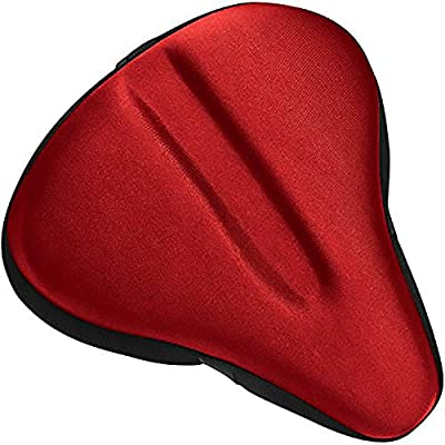 Bikeroo Large Bike Seat Cushion Wide Gel Soft Pad Most Comfortable Exercise Bicycle Saddle Cover for Women and Men Fits Spin Bike and Stationary Bikes Indoor Cycling