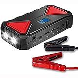 Booster Batterie Affichage numérique 600A automatique Chargeur de batterie et 13500mAh externe portable voiture saut de démarrage, avec chargement USB, Power Pack d'urgence et lampe de poche LED,Noir