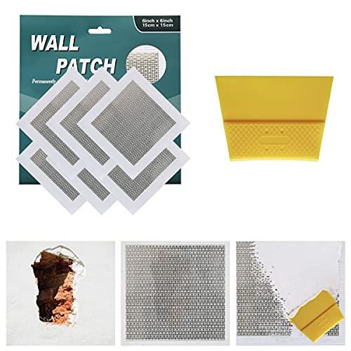 6 inch 6pack drywall patch drywall repair kit, self adhesive fiberglass wall repair patch kit,aluminum wall repair patch self adhesive screen patch repair for drywall plasterboard (66inch, 6pack)
