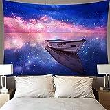 DHHY Tapiz Romántico con Estampado De Barcos, Decoración Psicodélica De Paredes De Nubes Coloridas, Tapices para El Hogar95*73cm