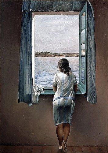 Mujer en la ventana (muchacha en la ventana) de Salvador Dali, 100% algodón impresión sobre lienzo 28x 20cm (Póster)
