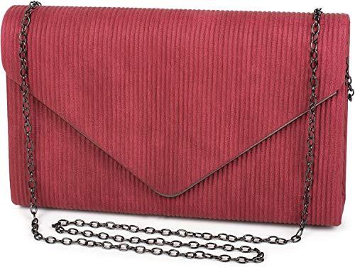 styleBREAKER Damen Envelope Clutch in Cord Optik mit Metall Zierleiste, Abendtasche, Tasche 02012275, Farbe:Bordeaux-Rot