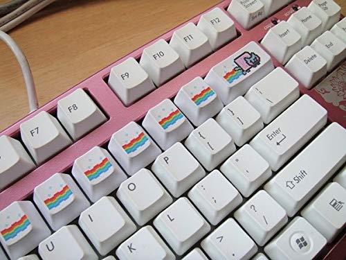 Mugen Custom Anime Sublimation Keycaps Set für Cherry MX Schalter – passend für die meisten mechanischen Gaming-Tastaturen – mit Tastenkappen-Abzieher Weiß Nyan Cat 14 Stück