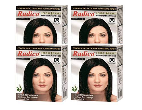 Radico Herbal Based Dark Brown Hair Color (Ammonia Free) - Set of 4