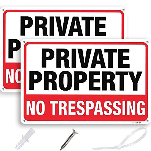 AlfaView No Trespassing-skylt, privat egendom metall, rostfri väderbeständig reflekterande 25,4 x 17,8 cm aluminiumskylt väder/blekningsbeständig enkel montering UV-tryckt skylt (2-pack)
