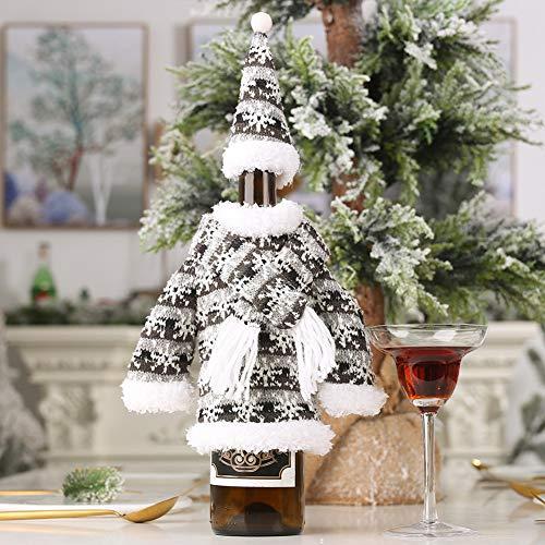 Redcolourful kersthoes voor het breien van kleding, hoed in flessenvorm, beschermhoes voor thuis, avondeten, tafeldecoratie