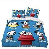 GD-SJK Bettwäsche für Kinder mit Snoopy,bettwäsche 3teilig,Bettbezug + Kissenbezüge,bettwäsche Kinder,Bettbezug niedliches Tierwelpenkätzchen (155x220cm, A03)