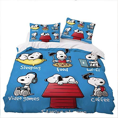 GD-SJK Bettwäsche für Kinder mit Snoopy,bettwäsche 3teilig,Bettbezug + Kissenbezüge,bettwäsche Kinder,Bettbezug niedliches Tierwelpenkätzchen,Baumwolle/Renforcé (155x220cm, A03)