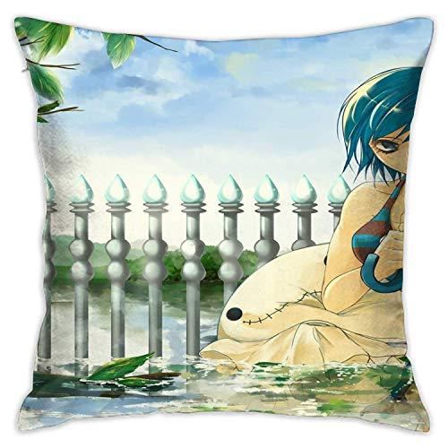 Bosbweo Funda de sofá de cola de hada de anime para salón o sofá, decoración de casa de campo, funda de almohada decorativa de 45,7 x 45,7 cm