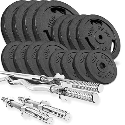 Hop Sport Cast Iron Barbell Set 96kg: 1x Barbell, 1 Curl Bar, 2x Dumbbell with 16 Iron Weight Plates - Weight Lifting Set for Bodybuilding - Home Gym Equipment for Training Bench