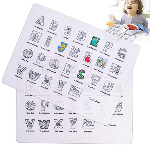 Set di 2 tovagliette da colorare per bambini, in silicone, antiscivolo, lavabili e riutilizzabili