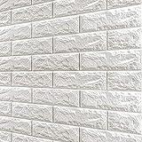 3D Ziegel Tapete Selbstklebend Wandpaneele (10 Stück) Wanddekor Steinoptik Tapete, Wasserfest Wandaufkleber für Wohnzimmer Badezimmer Balkon Küchen - 77 x 70 cm (Weiß)