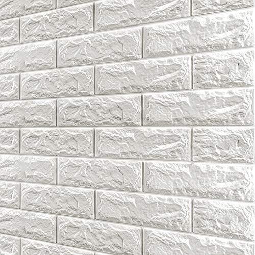 10PCS Piastrelle da parete autoadesive 77X70cm Carta da parati effetto mattoni bianchi Carta da parati 3D Adesivi murali in mattoni impermeabili Pannelli murali in schiuma fai da te