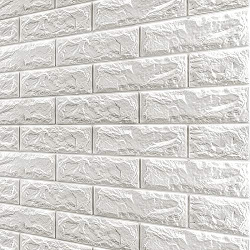 Toolwiz 10Pcs Brick Wall Panels Peel and Stick Self-Adhesive 3D Foam Stone Textured White Faux Wallpaper Tiles for Living- Bedroom TV Background Home Decor DIY – 58.13 sq.Feet & Premium Utility Knife