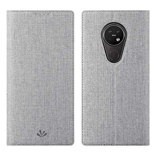 Nokia 7.2/Nokia 6.2 Hülle Hülle,Premium Leder Geldbörse Tasche mit[Kickstand][Kartenhalter][ID Holder][TPU Bumper]Stoßfest Schutzbrieftasche Stoßfest Flip Tasche Handyhülle für Nokia 7.2/Nokia 6.2,Grau