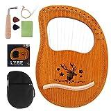 ライアーハープ16弦 木製ハープ 弦楽器 マホガニーソリッドウッド 心癒し 楽器 初心者 調律用ハンマー 収納バッグ付き 初心者向け