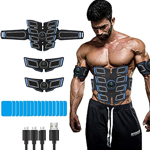 EMS Stimolatore Muscolare, Elettrostimolatore per Addominali Elettrostimolatore Muscolare, ABS Trainer/Toner per Addome/Braccio/Vita/Gambe Home Gym con 16PCS Gel Pezzi
