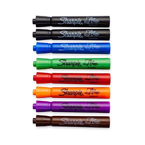 Sharpie Flip Chart Markers, Bullet Tip, Assorted Colors, 8 Count