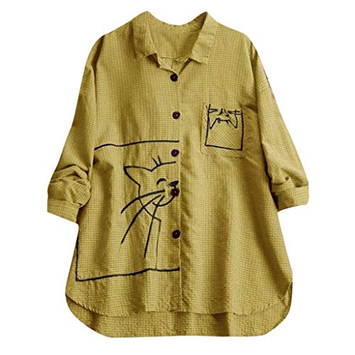 AG&T⊙◡⊙ Camicetta da Donna Sciolto Abbottonatura Plus Size Camicia a Maniche Lunghe Abito Linea Top Camicie Casual con Stampa Gatto
