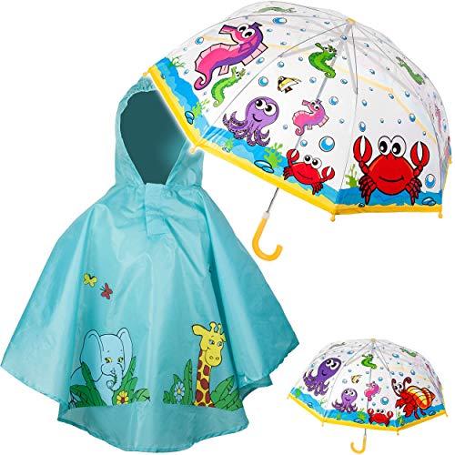 alles-meine.de GmbH 2 TLG. Set: Regenschirm + Regenponcho - Fische & Unterwasser Tiere - Kinderschirm - Ø 75 cm - durchsichtig & durchscheinend - transparent - Regencape - Kinder..
