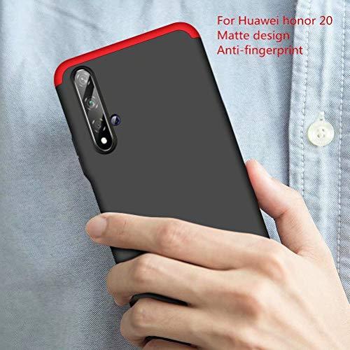AILZH HandyHülle kompatibel für Huawei Honor 20 Hülle 360 Grad PC Hartschale Anti-Schock Anti-Kratz Schutzhülle Stoßdämpfung Stoßfänger Stoßfest Shockproof Bumper Cover Case matt(Rot schwarz) - 2
