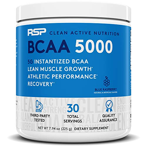 RSP BCAA 5000 (30 Serv), Premium BCAA Capsules for Post Workout Muscle Recovery, Endurance and Energy, 5grams of Essential Branched Chain Amino Acids Per Serving (Blue Raspberry, 30 Servings)
