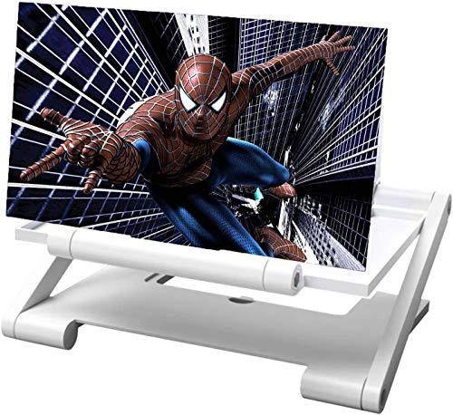 Lupa de Pantalla de teléfono, Amplificador de Pantalla Móvil 12 Pulgadas Pantalla de Amplificador de teléfono 3D, Adecuado para Ver películas y Videos en un teléfono Inteligente (White)