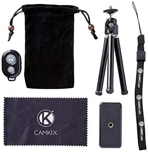 CamKix drahtloser Universal Selfie Kit mit Bluetooth Fernbedienung und Tripod - Freihändiger Steuerung des Kamera-Auslösers aus einer Entfernung von bis zu 30 Meter - Passend für iOS und Android-Smartphones. (Bluetooth Fernbedienung + Tripod)