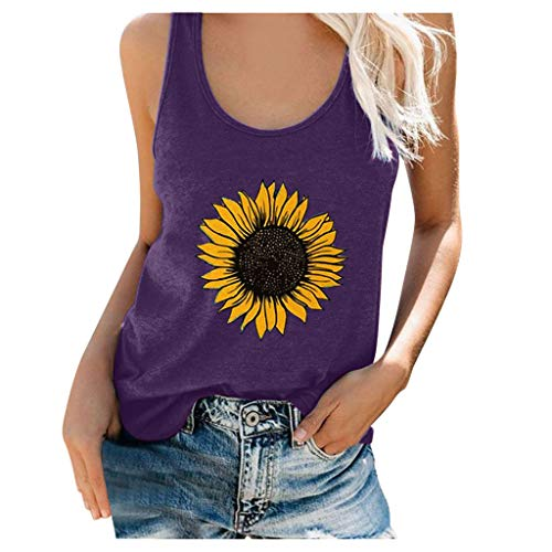 Dasongff Damen Tank-Top Sonnenblume Ärmellos Tops Sommer Hawaii Blumen Casual Top O-Neck Shirt Weste Tank Crop Loose Sport Casual Tee Hemd Fitness Unterhemd Regular Fit Camisole