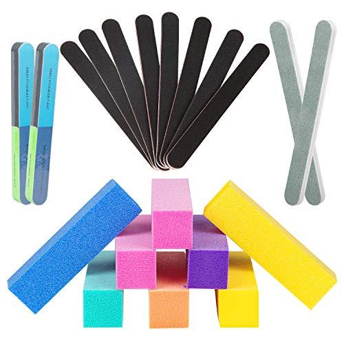 50 Piezas 100/180 Limas de Uñas, [Duradero actualizado]Recto Forma Limas de Uñas Doble Cara Profesional Manicura Nail Art - Material Papel Esmeril