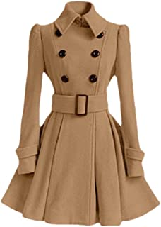 Macondoo Women's Fall Winter Double-Breasted Outwear Wool Blend Pea Coats