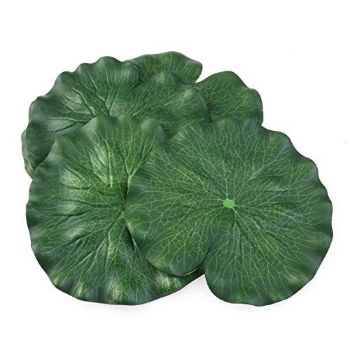 Toyandona - 10 hojas de loto artificial, 7 pulgadas de espuma flotante de loto, diseño de nenúfares, adornos para acuario