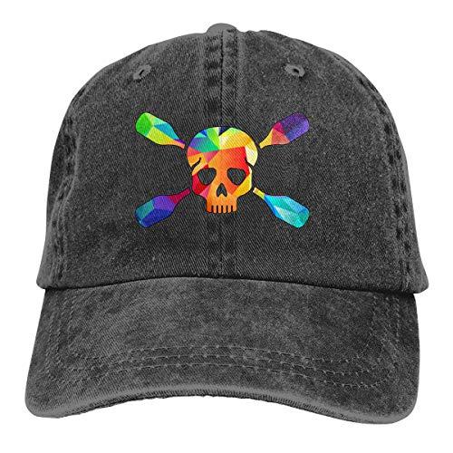 Amoyuan gekruiste kajak peddels achter schedel Unisex gewassen katoen honkbalpet vintage verstelbare vader casquette trucker hoed zwart