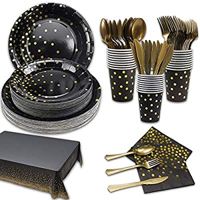 169Pcs Black and Gold Party Supplies Disposable...