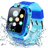 Smartwatch Niños, Reloj Inteligente Niña Niños IP67 LBS, Llamada Bidireccional, SOS Modo de Clase, Cámara, Juegos, Regalo para 3-12 años, Smartwatch soporta 2G Tarjeta Micro SIM (Azul)