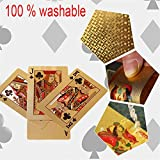 Brownrolly Goldspielkartenspiel Goldfolie Poker Kartenspiel 24 Karat Goldplastik Magic Water Resistant Poker Cards -