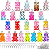 92 Pieces Candy Gummy Colorful Pendant Cute Bear Charms with 120 Pieces Earring Hooks 250 Pieces Jump Rings for Jewelry Keychain Pendant DIY Making Supplies