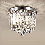 Lustre en cristal moderne,HAHZT Chrome Plafonniers Luminaire avec 3 Lumières,Mini Plafonnier en cristal Éclairage pour Entrée, Salon, Salle à Manger ,Ø 25 cm