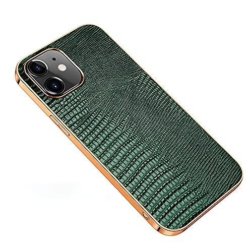 Estuche para iPhone 12/12 Pro Negocio Piel de Vaca Teléfono Funda Ultrafino Prueba de Golpes Galvanoplastia Streamer Borde Suave Cover Todo Incluido Grano de Lagarto Cuero(Size:IP12MINI,Color:Verde)